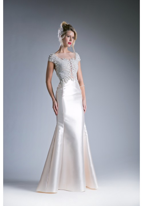 Illusion Beaded Capped Sleeves Long Gown