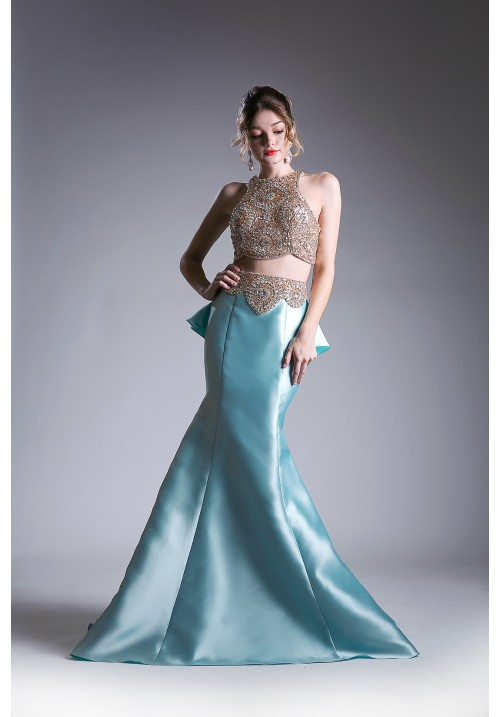Mermaid Ruffle Hem Two Piece Long Dress