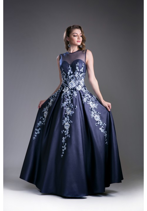 Flowery A-Line Satin Gown