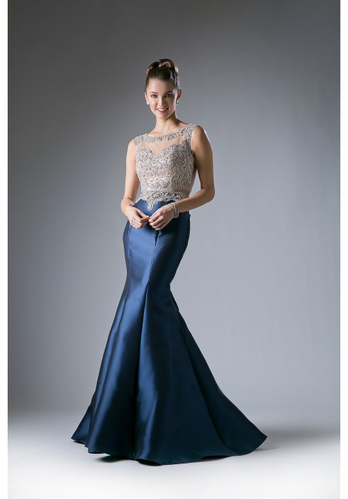 Capped Sleeves Beaded Bodice Evening Dress