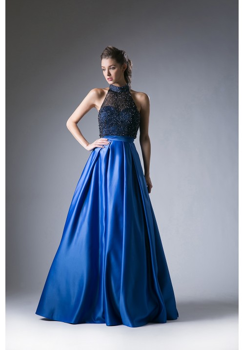 Halter Beaded Top Ball Gown