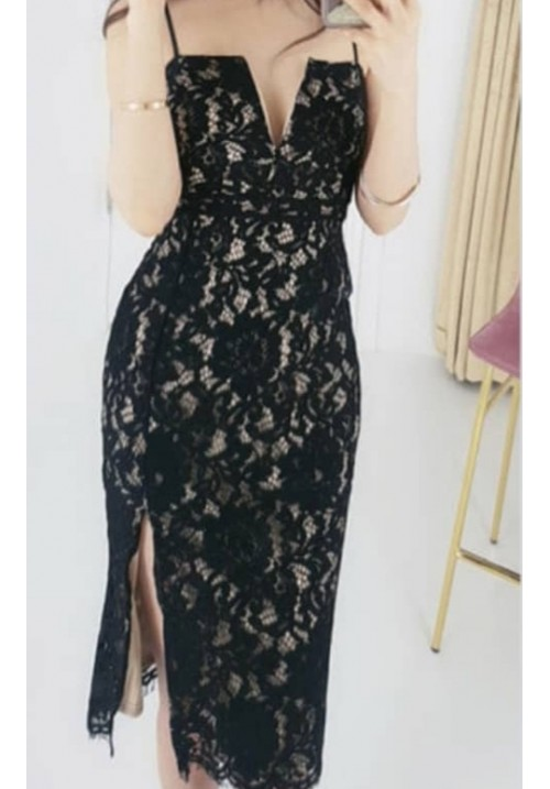Structured Lace Cutout Neck Slit Fitted Dress