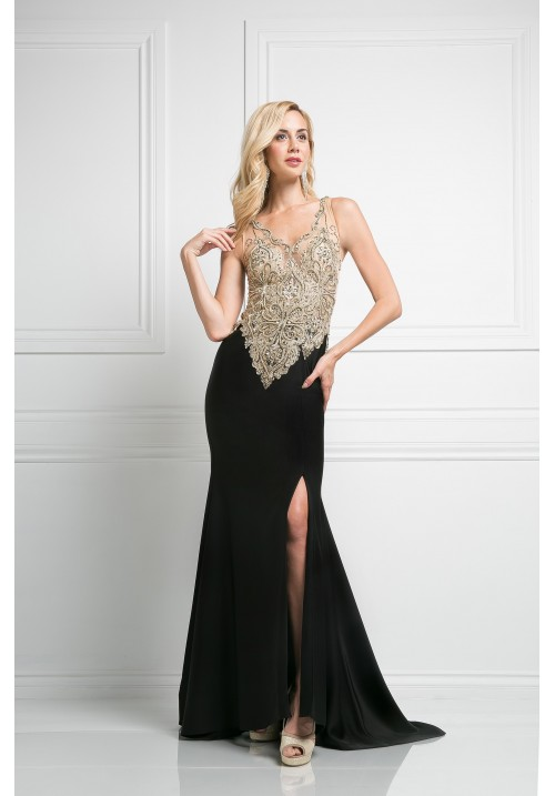 Beaded Long Gown with Leg Slit