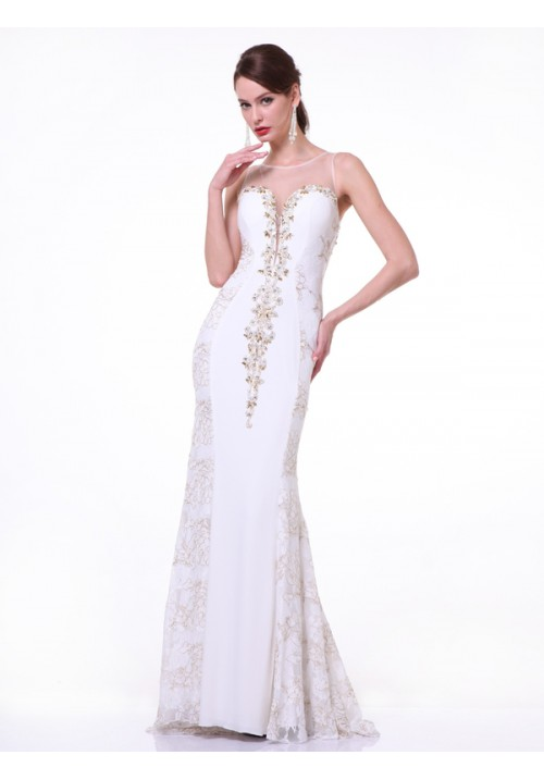 Illusion Beaded Long Gown