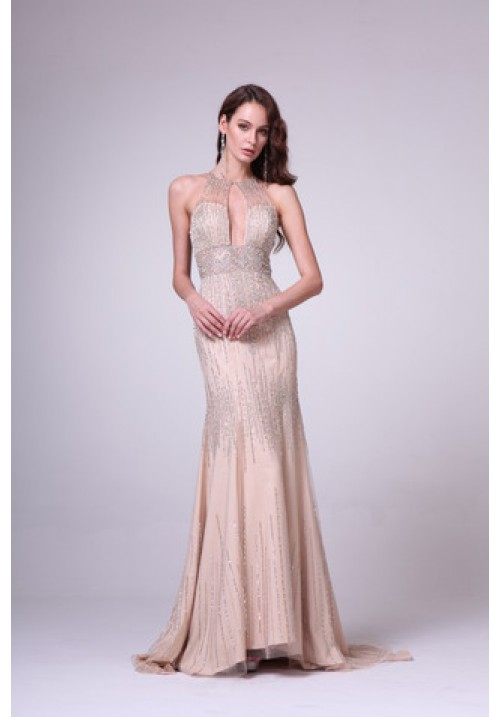 Haltered Gown with Open Chest Slit