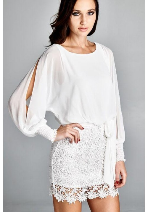 Slitted Long Sleeve with Lace Bottom