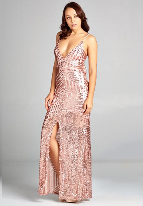 V Neck Dress With Front Slit