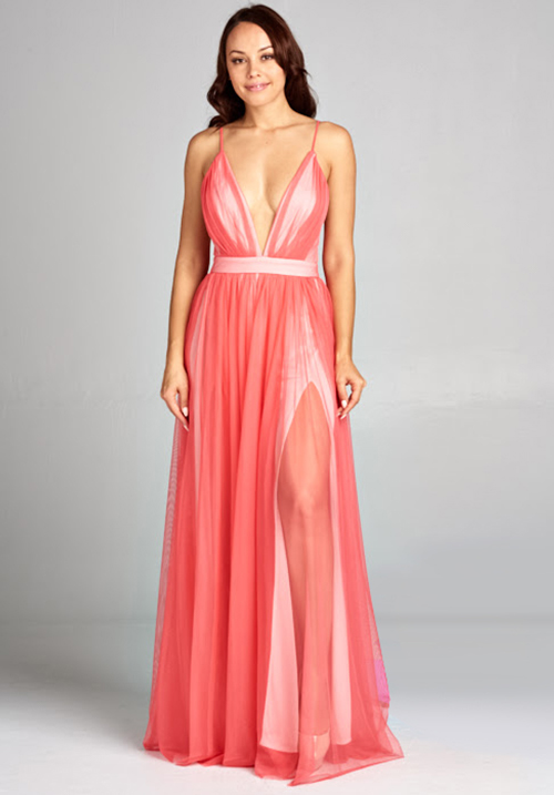 Deep V-neck Maxi Tulle Dress