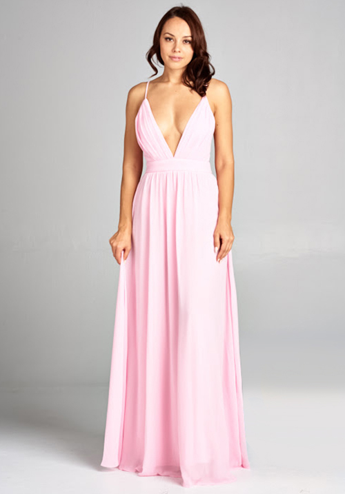 Low V Neck Chiffon Dress