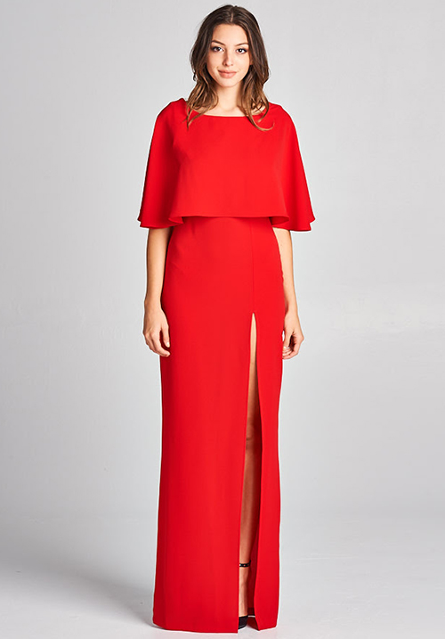 Caped Sile Slit Long Dress