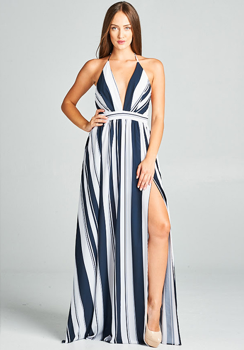 Deep V Neck Striped Maxi Dress With Slit