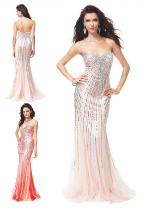 Beaded Long Tube Gown