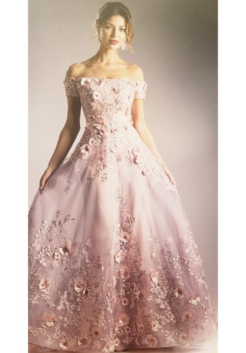 Flower Off Shoulder Applique Gown