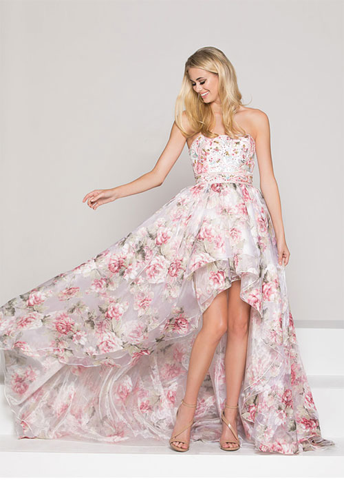 Printed high and low Gown