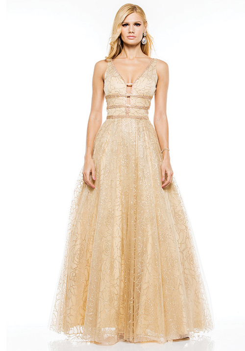 Dazzled Waist Gold Gown