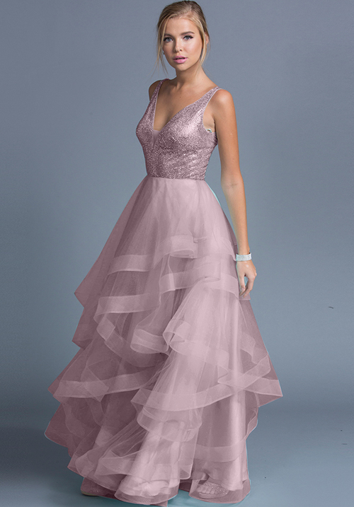 V-neck Frilled Tulle Gown