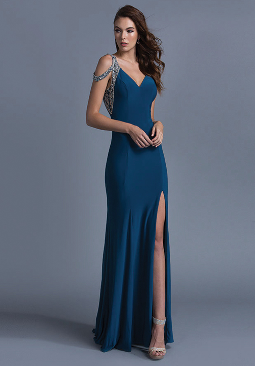 V-Neck Jersey Gown With Side Slit