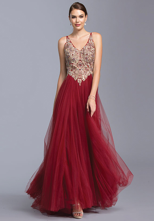 V-neck Embelished Tulle Gown