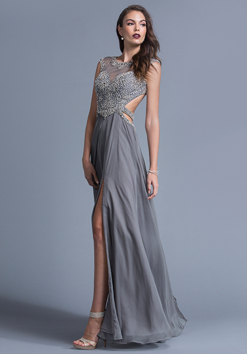 Open Back chiffon Gown with Side Slit
