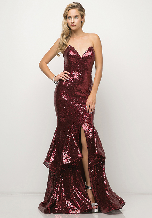 Sequins ruffled Gown With Slit