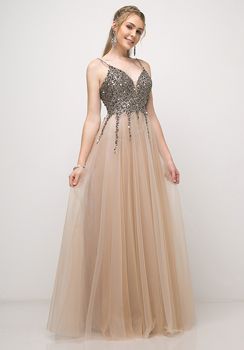 Gun Metal Beaded Top Tulle Gown