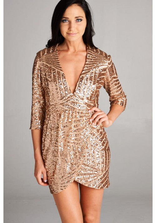 Mid Sleeve Sequin Tulip Hem Dress