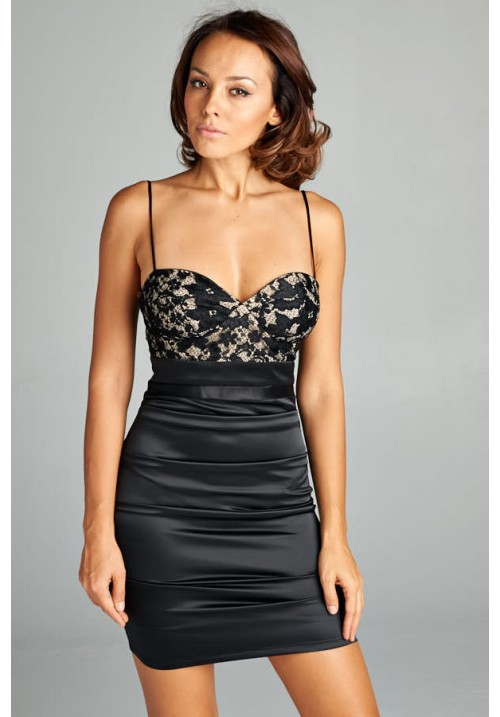 Short Black Satin Bodycon Dress